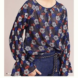 NWT Anthropologie flower blouse.